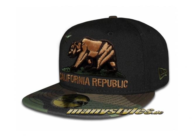 New Era Unlicensed Cap California Republic Cali Bear Camo exclusive Black Woodland Camouflage Ltd ed